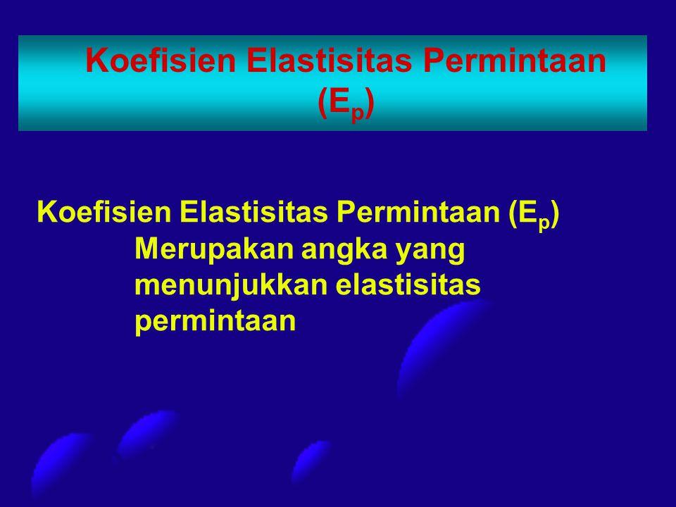 Koefisien Elastisitas Permintaan (E p ) Koefisien Elastisitas Permintaan (E p ) Merupakan angka yang menunjukkan elastisitas permintaan