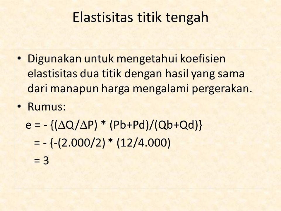 Elastisitas titik tengah Digunakan untuk mengetahui koefisien elastisitas dua titik dengan hasil yang sama dari manapun harga mengalami pergerakan. Ru