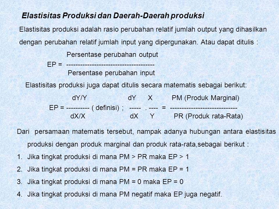 Elastisitas Produksi dan Daerah-Daerah produksi Elastisitas produksi adalah rasio perubahan relatif jumlah output yang dihasilkan dengan perubahan rel
