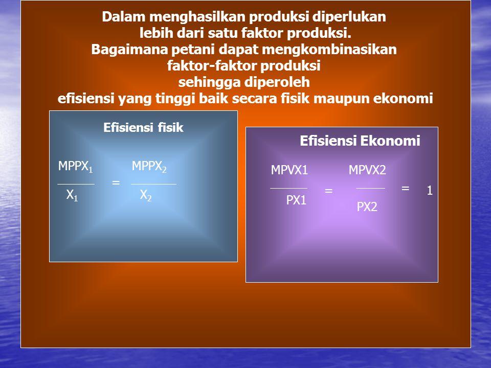 Kombinasi Faktor Produksi Dalam menghasilkan produksi diperlukan lebih dari satu faktor produksi. Bagaimana petani dapat mengkombinasikan faktor-fakto