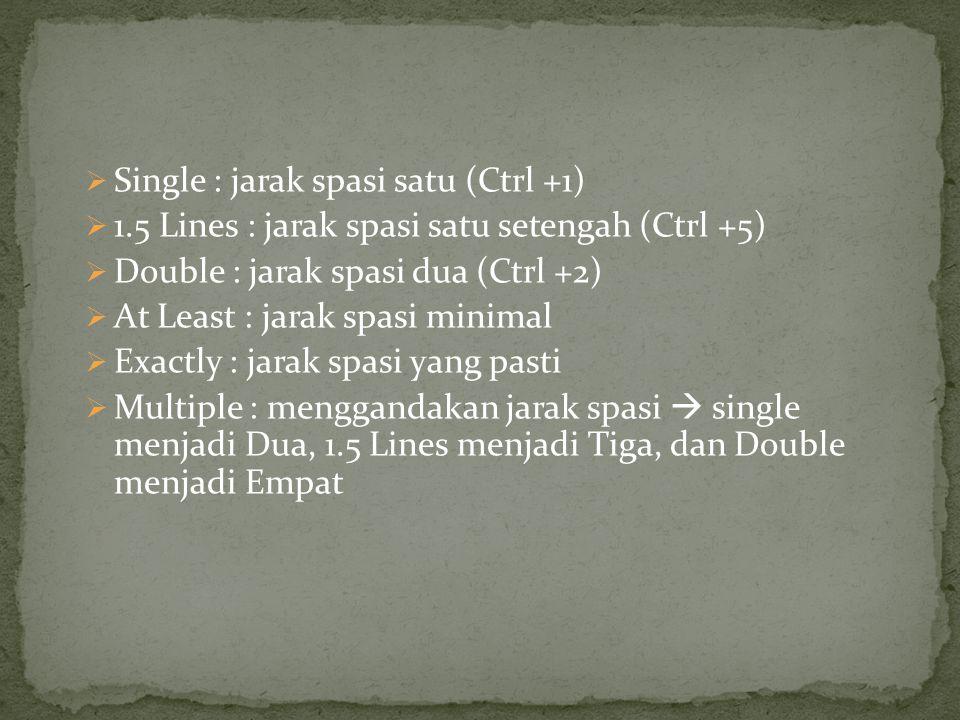  Single : jarak spasi satu (Ctrl +1)  1.5 Lines : jarak spasi satu setengah (Ctrl +5)  Double : jarak spasi dua (Ctrl +2)  At Least : jarak spasi minimal  Exactly : jarak spasi yang pasti  Multiple : menggandakan jarak spasi  single menjadi Dua, 1.5 Lines menjadi Tiga, dan Double menjadi Empat
