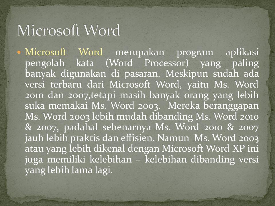 Microsoft Word merupakan program aplikasi pengolah kata (Word Processor) yang paling banyak digunakan di pasaran.