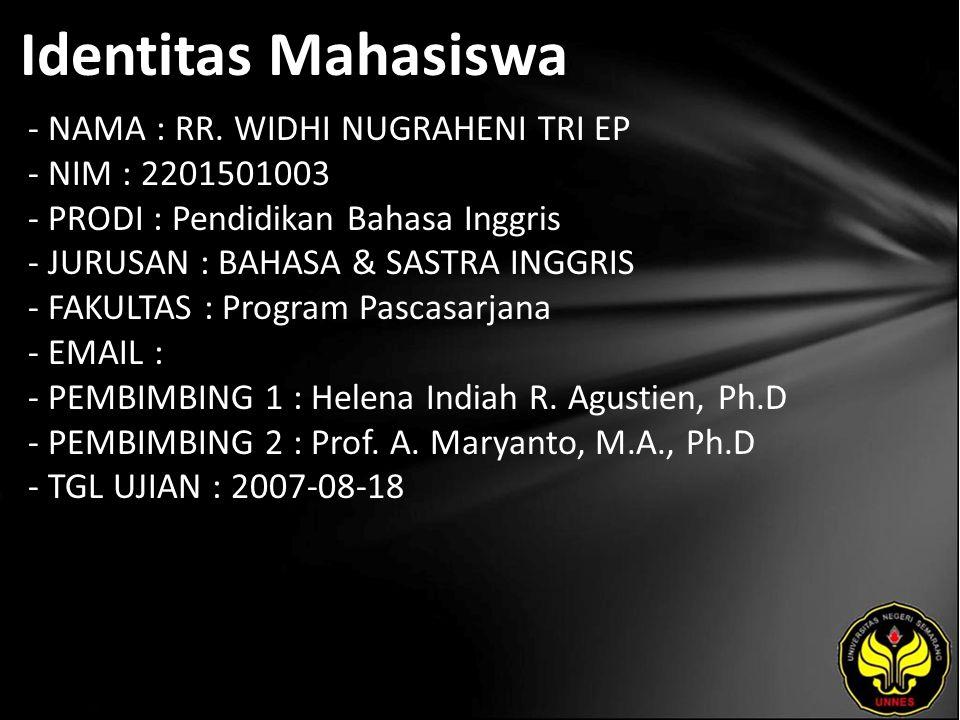 Identitas Mahasiswa - NAMA : RR.
