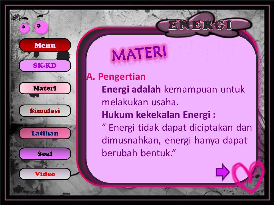Energi Potensial Energi potensial adalah energi yang berkaitan dengan kedudukan benda terhadap titik acuan.