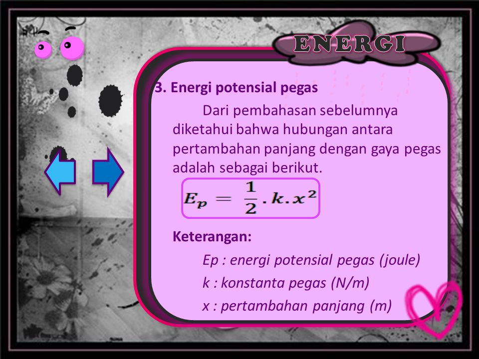 3. Energi potensial pegas Dari pembahasan sebelumnya diketahui bahwa hubungan antara pertambahan panjang dengan gaya pegas adalah sebagai berikut. Ket