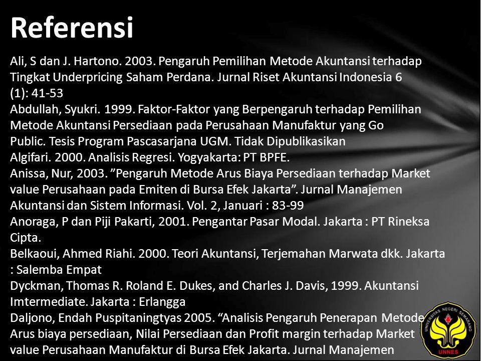 Referensi Ali, S dan J. Hartono. 2003.