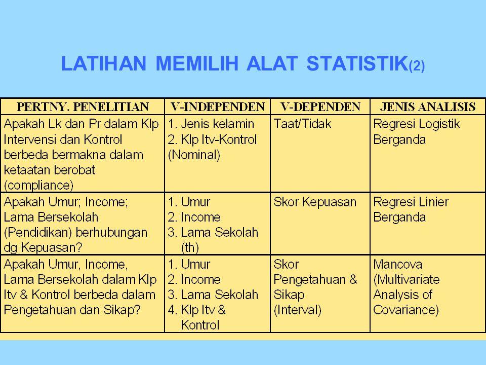 LATIHAN MEMILIH ALAT STATISTIK (1)