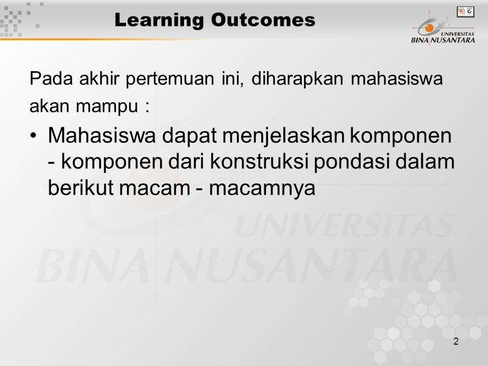 2 Learning Outcomes Pada akhir pertemuan ini, diharapkan mahasiswa akan mampu : Mahasiswa dapat menjelaskan komponen - komponen dari konstruksi pondas