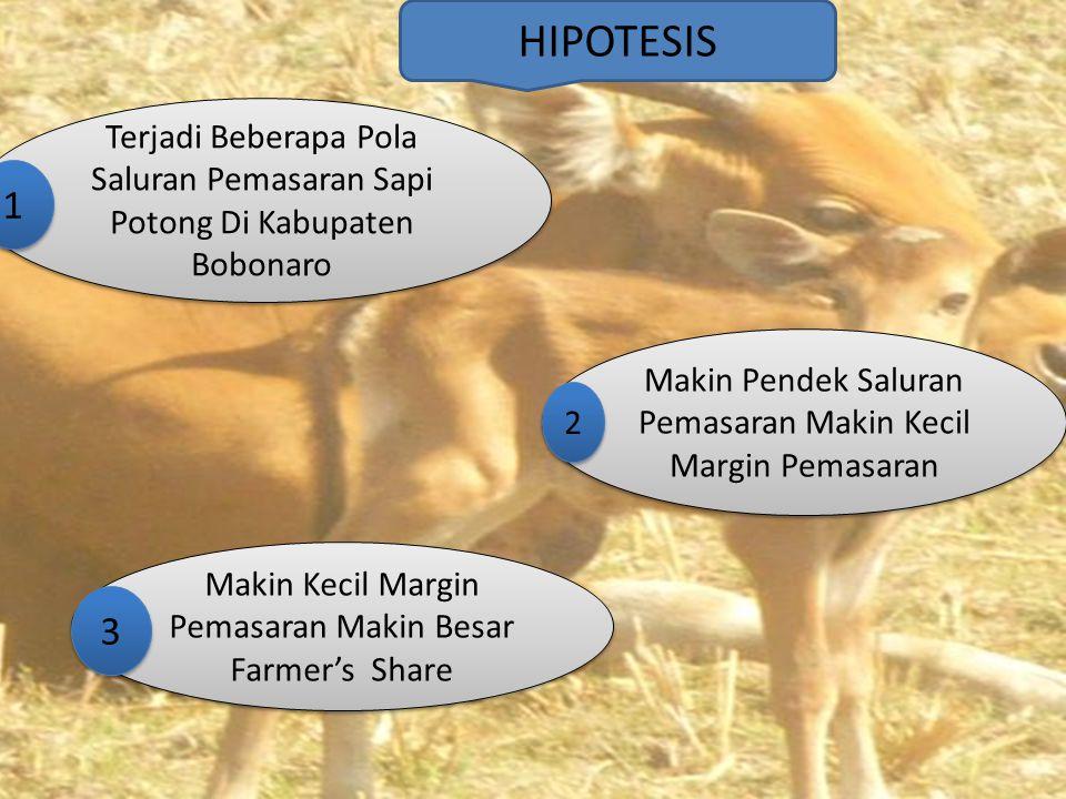 HIPOTESIS Terjadi Beberapa Pola Saluran Pemasaran Sapi Potong Di Kabupaten Bobonaro Makin Pendek Saluran Pemasaran Makin Kecil Margin Pemasaran Makin Kecil Margin Pemasaran Makin Besar Farmer's Share 1 1 2 2 3 3
