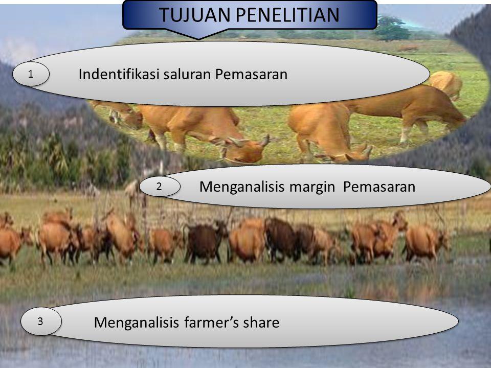 TUJUAN PENELITIAN Indentifikasi saluran Pemasaran Menganalisis margin Pemasaran Menganalisis farmer's share 1 1 2 2 3 3