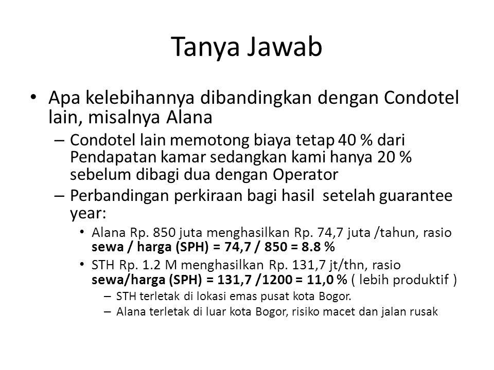 Tanya Jawab Apa kelebihannya dibandingkan dengan Condotel lain, misalnya Alana – Condotel lain memotong biaya tetap 40 % dari Pendapatan kamar sedangk