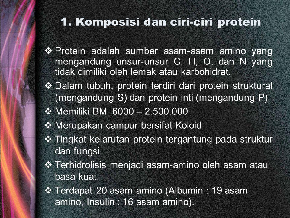 1. Komposisi dan ciri-ciri protein  Protein adalah sumber asam-asam amino yang mengandung unsur-unsur C, H, O, dan N yang tidak dimiliki oleh lemak a