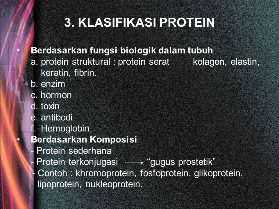 3. KLASIFIKASI PROTEIN Berdasarkan fungsi biologik dalam tubuh a. protein struktural : protein serat kolagen, elastin, keratin, fibrin. b. enzim c. ho