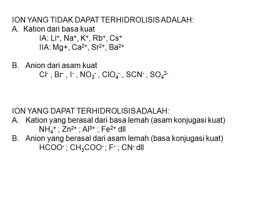 ION YANG TIDAK DAPAT TERHIDROLISIS ADALAH: A. Kation dari basa kuat IA: Li +, Na +, K +, Rb +, Cs + IIA: Mg+, Ca 2+, Sr 2+, Ba 2+ B.Anion dari asam ku