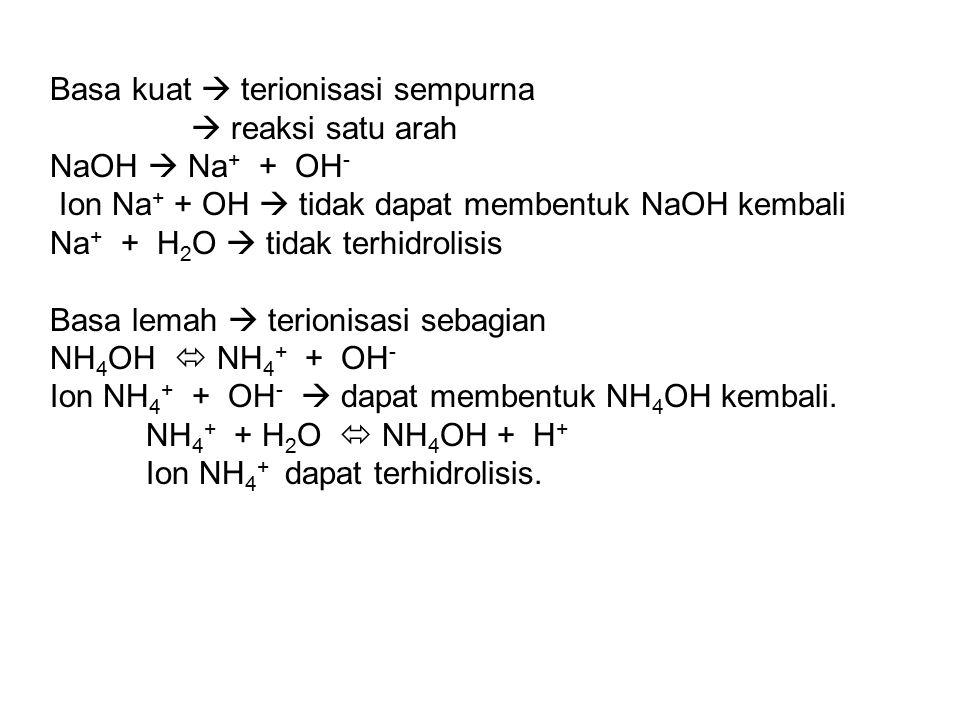 Basa kuat  terionisasi sempurna  reaksi satu arah NaOH  Na + + OH - Ion Na + + OH  tidak dapat membentuk NaOH kembali Na + + H 2 O  tidak terhidr