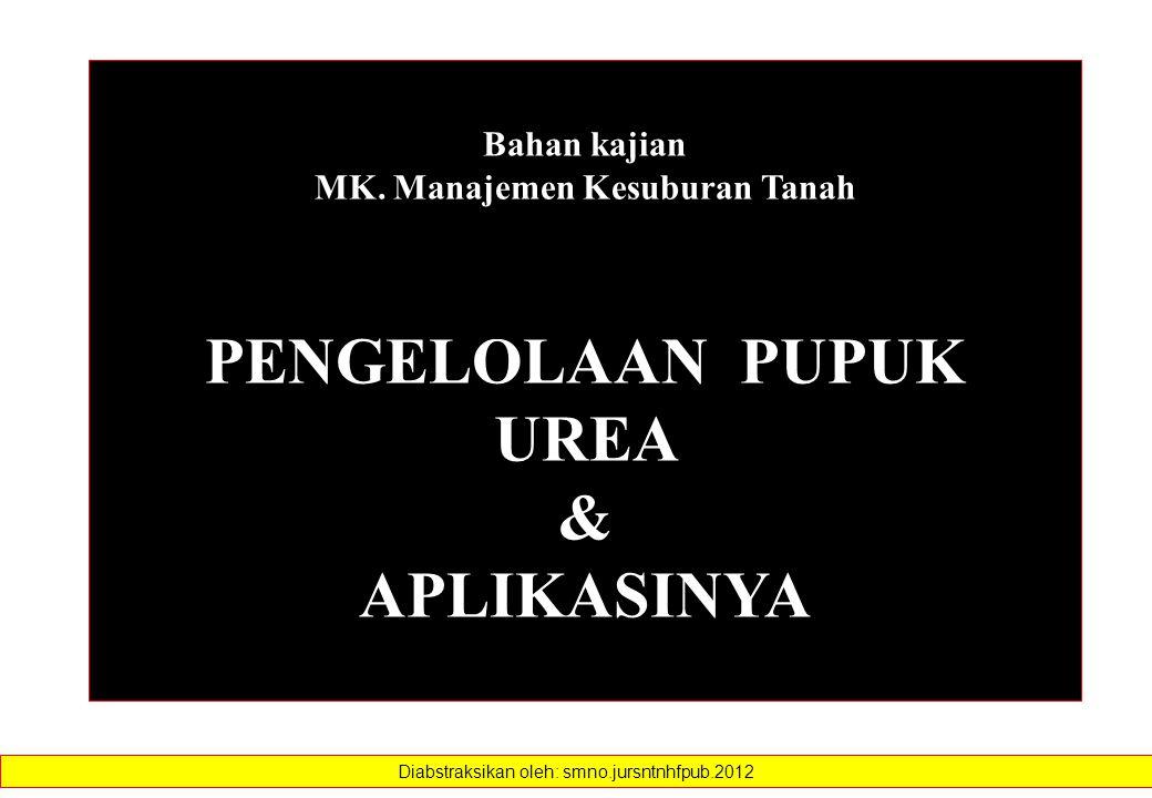 Bahan kajian MK. Manajemen Kesuburan Tanah PENGELOLAAN PUPUK UREA & APLIKASINYA Diabstraksikan oleh: smno.jursntnhfpub.2012