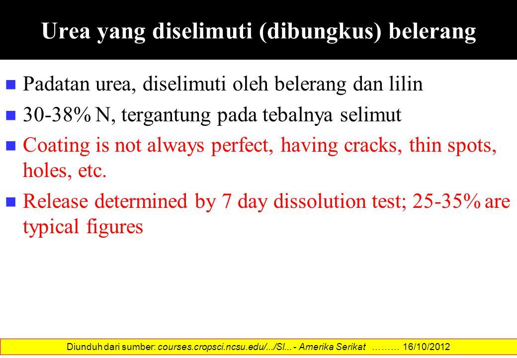 Urea yang diselimuti (dibungkus) belerang Padatan urea, diselimuti oleh belerang dan lilin 30-38% N, tergantung pada tebalnya selimut Coating is not a