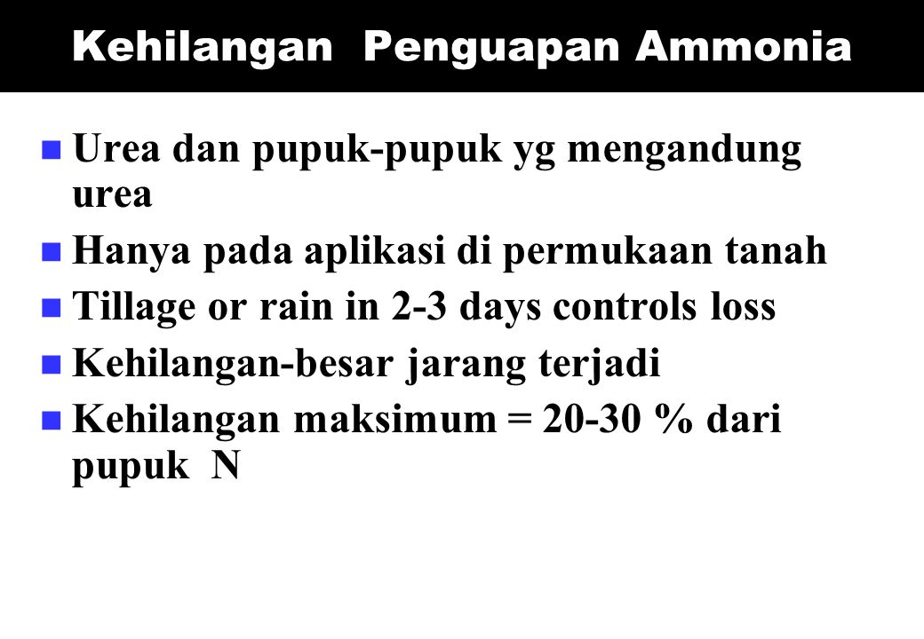 Kehilangan Penguapan Ammonia Urea dan pupuk-pupuk yg mengandung urea Hanya pada aplikasi di permukaan tanah Tillage or rain in 2-3 days controls loss