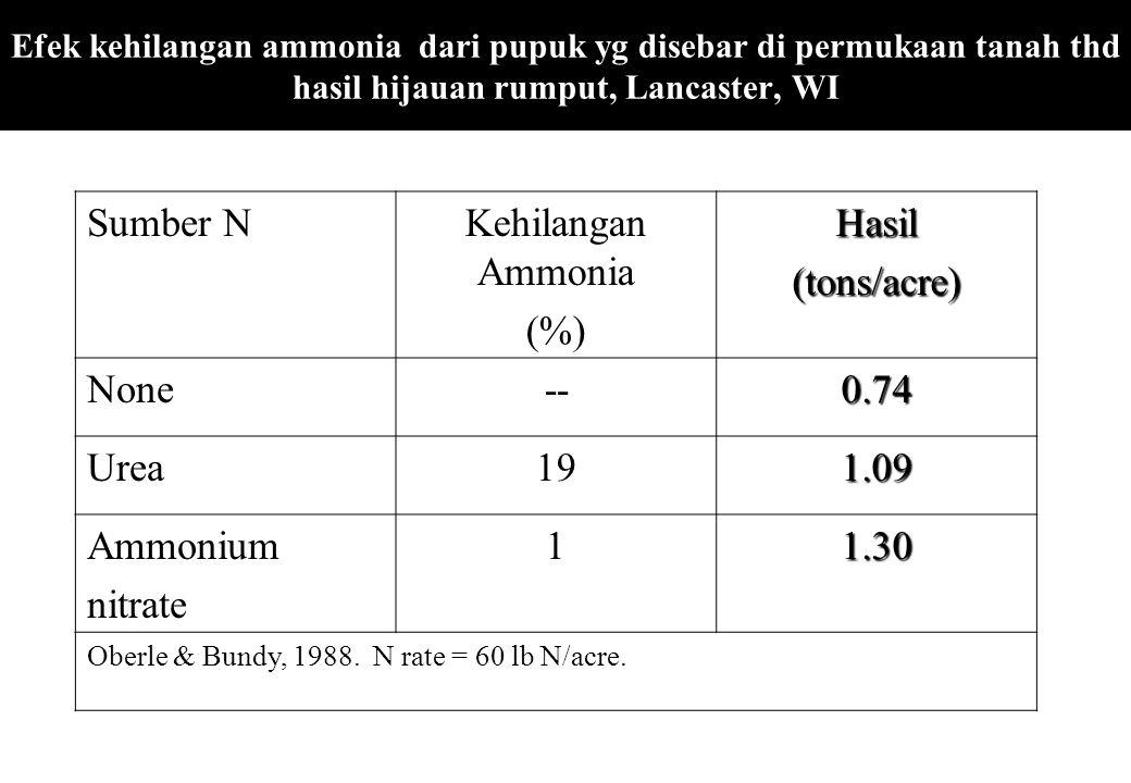 Efek kehilangan ammonia dari pupuk yg disebar di permukaan tanah thd hasil hijauan rumput, Lancaster, WI Sumber NKehilangan Ammonia (%)Hasil(tons/acre