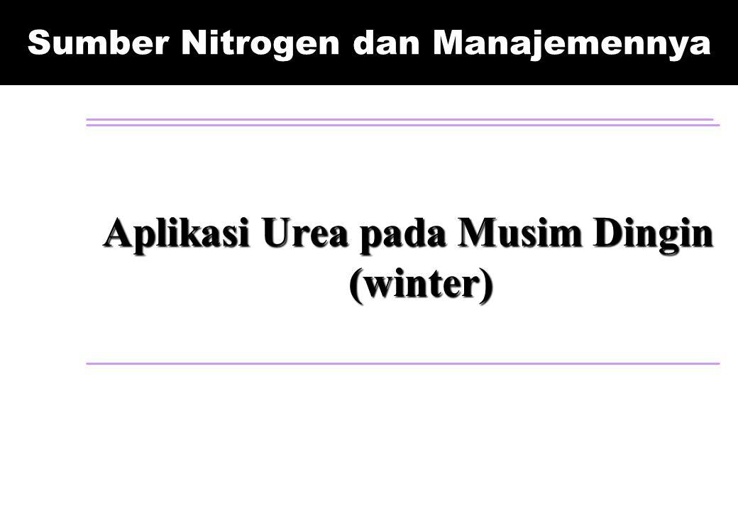 Sumber Nitrogen dan Manajemennya Aplikasi Urea pada Musim Dingin (winter)