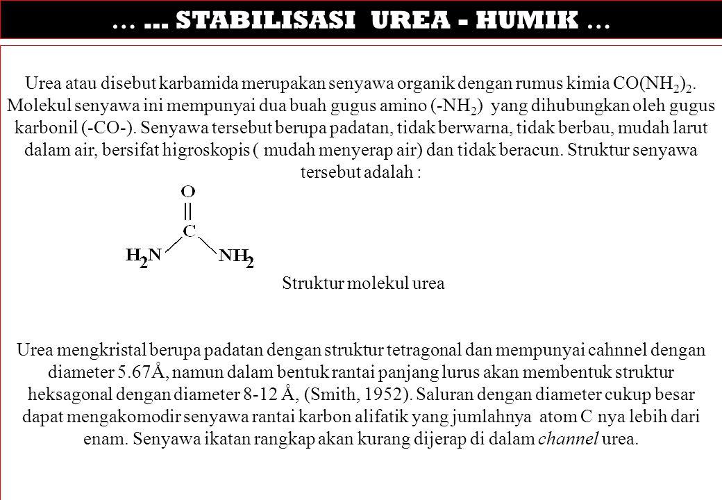 … … STABILISASI UREA - HUMIK … Urea atau disebut karbamida merupakan senyawa organik dengan rumus kimia CO(NH 2 ) 2. Molekul senyawa ini mempunyai dua