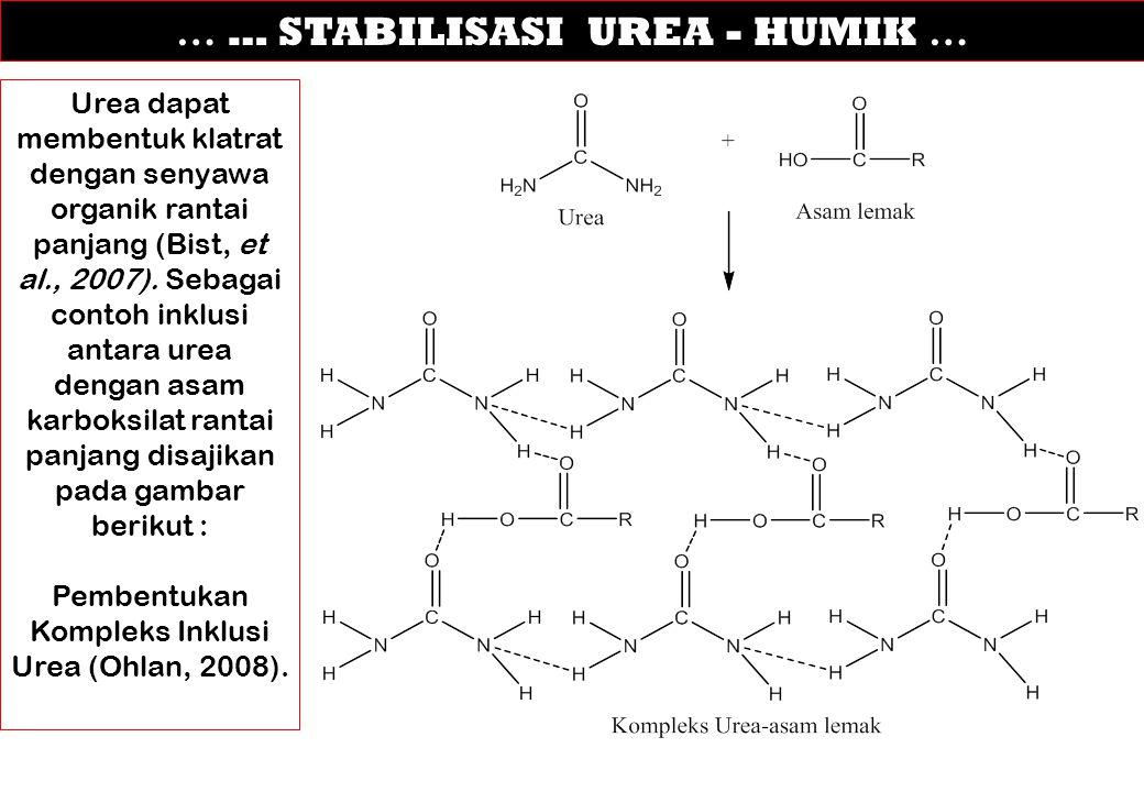 … … STABILISASI UREA - HUMIK … Urea dapat membentuk klatrat dengan senyawa organik rantai panjang (Bist, et al., 2007). Sebagai contoh inklusi antara