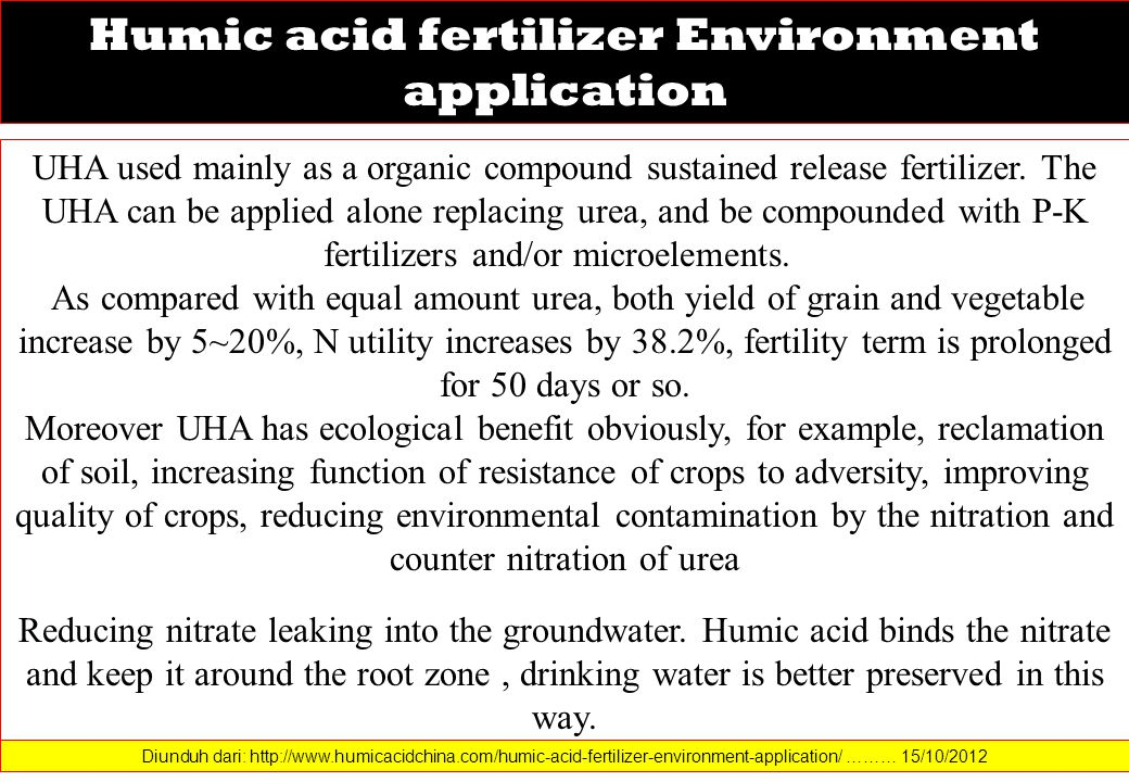 Humic acid fertilizer Environment application UHA used mainly as a organic compound sustained release fertilizer.