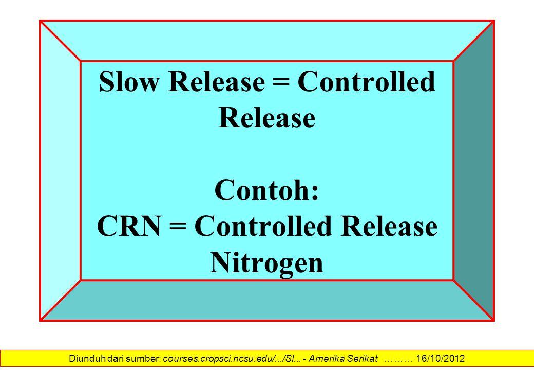 Slow Release = Controlled Release Contoh: CRN = Controlled Release Nitrogen Diunduh dari sumber: courses.cropsci.ncsu.edu/.../Sl... - Amerika Serikat