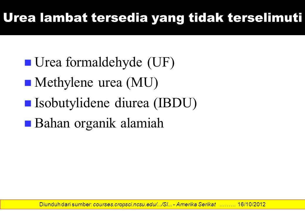 Urea lambat tersedia yang tidak terselimuti Urea formaldehyde (UF) Methylene urea (MU) Isobutylidene diurea (IBDU) Bahan organik alamiah Diunduh dari