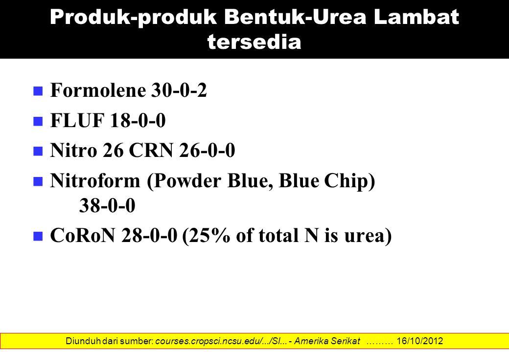 Produk-produk Bentuk-Urea Lambat tersedia Formolene 30-0-2 FLUF 18-0-0 Nitro 26 CRN 26-0-0 Nitroform (Powder Blue, Blue Chip) 38-0-0 CoRoN 28-0-0 (25%