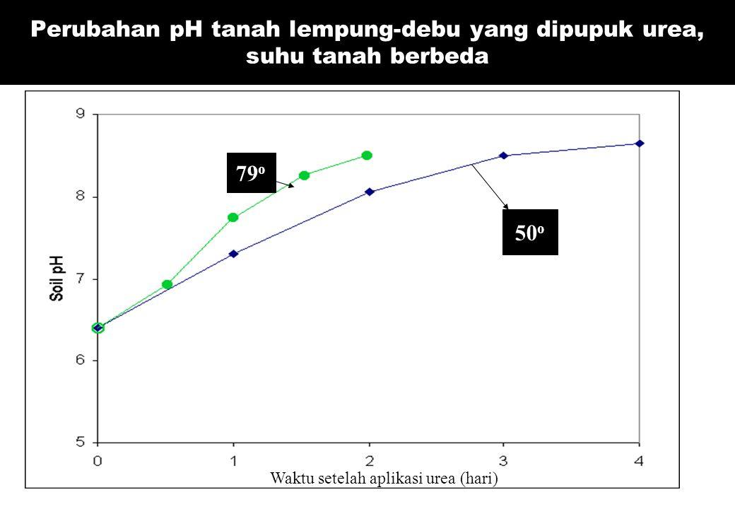 Perubahan pH tanah lempung-debu yang dipupuk urea, suhu tanah berbeda Waktu setelah aplikasi urea (hari) 50 o 79 o