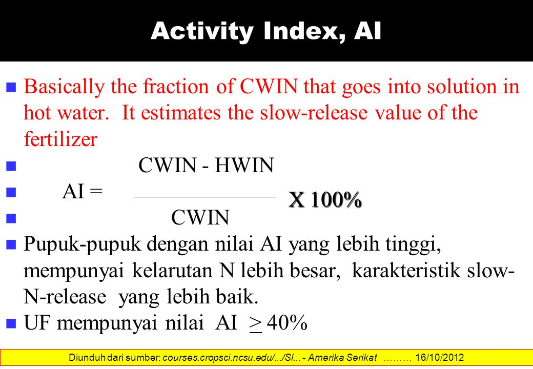 Activity Index, AI Basically the fraction of CWIN that goes into solution in hot water. It estimates the slow-release value of the fertilizer CWIN - H