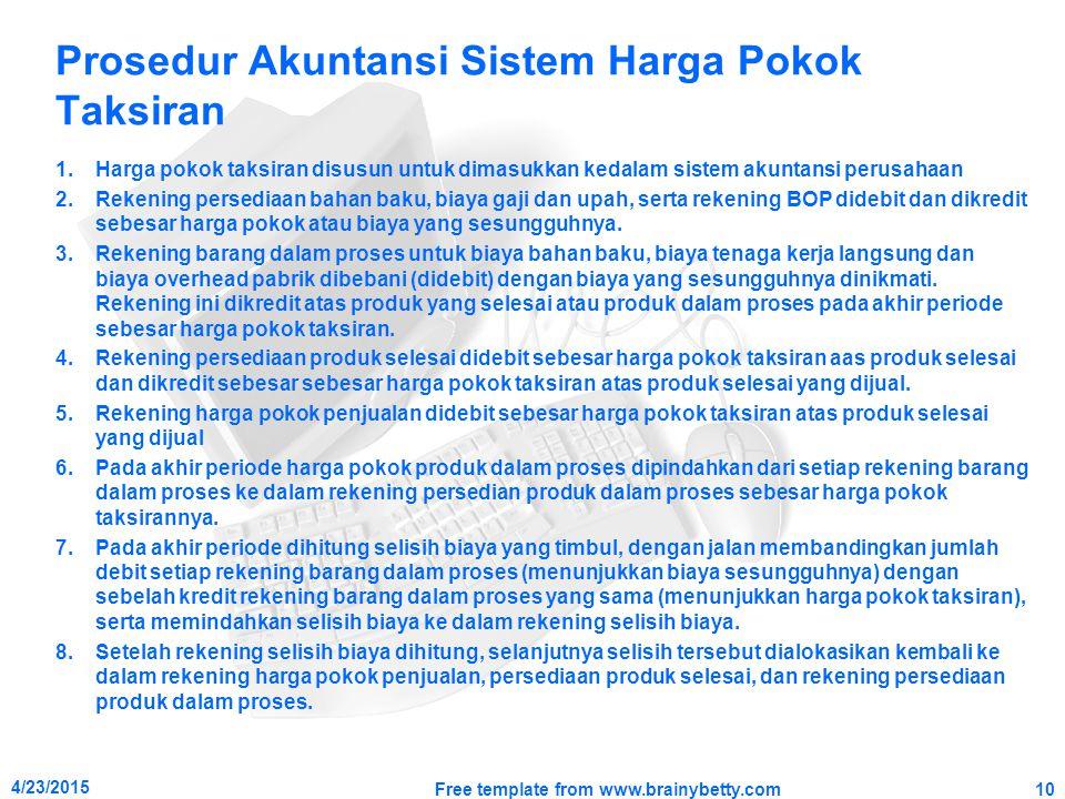 Prosedur Akuntansi Sistem Harga Pokok Taksiran 1.Harga pokok taksiran disusun untuk dimasukkan kedalam sistem akuntansi perusahaan 2.Rekening persedia