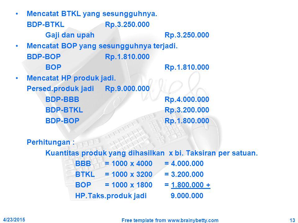 Mencatat BTKL yang sesungguhnya. BDP-BTKLRp.3.250.000 Gaji dan upahRp.3.250.000 Mencatat BOP yang sesungguhnya terjadi. BDP-BOPRp.1.810.000 BOPRp.1.81