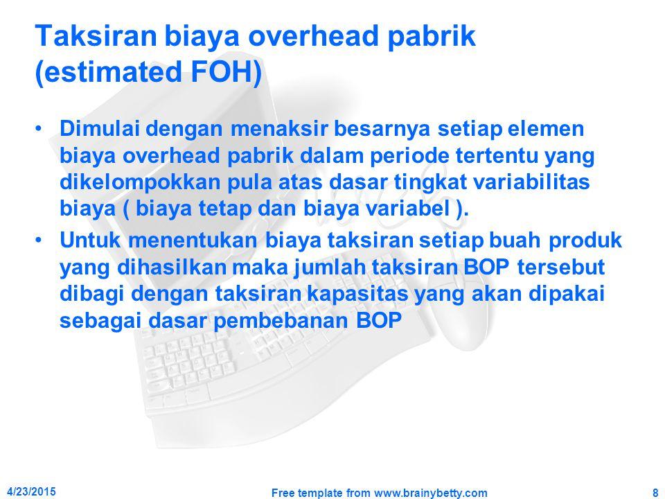 Taksiran biaya overhead pabrik (estimated FOH) Dimulai dengan menaksir besarnya setiap elemen biaya overhead pabrik dalam periode tertentu yang dikelo