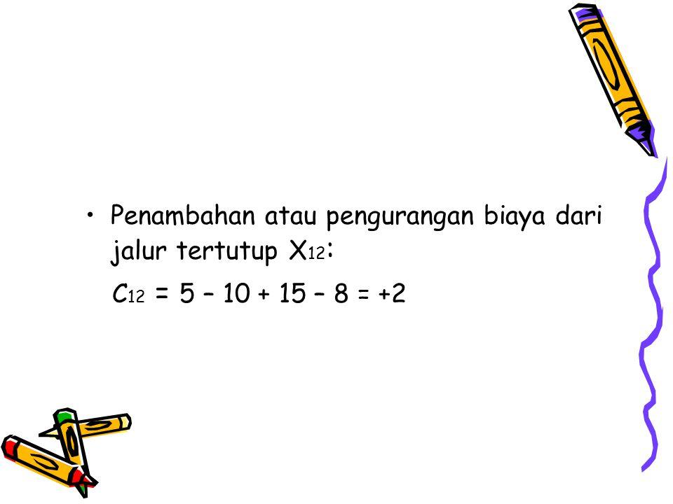 Penambahan atau pengurangan biaya dari jalur tertutup X 12 : C 12 = 5 – 10 + 15 – 8 = +2
