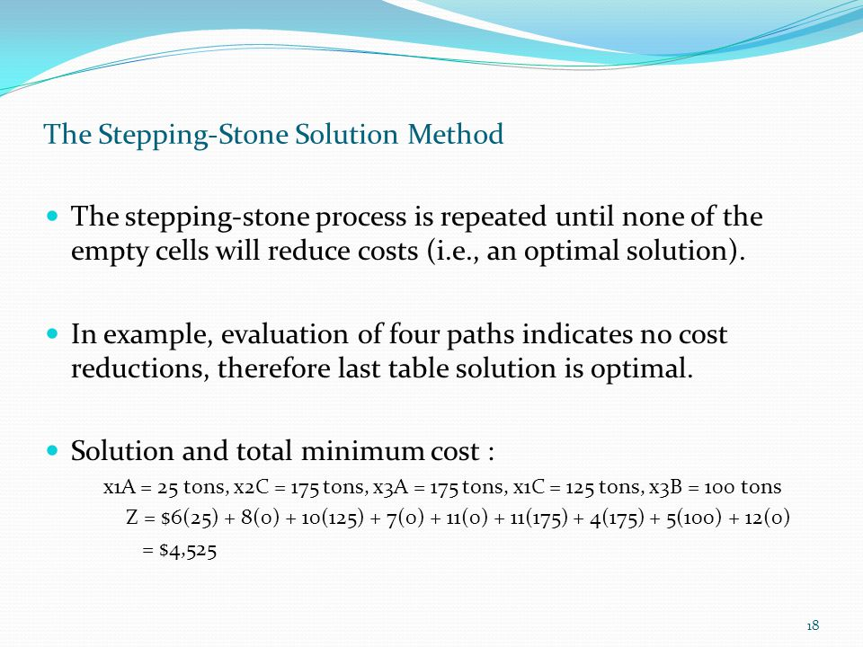 18 The Stepping-Stone Solution Method The stepping-stone process is repeated until none of the empty cells will reduce costs (i.e., an optimal solution).