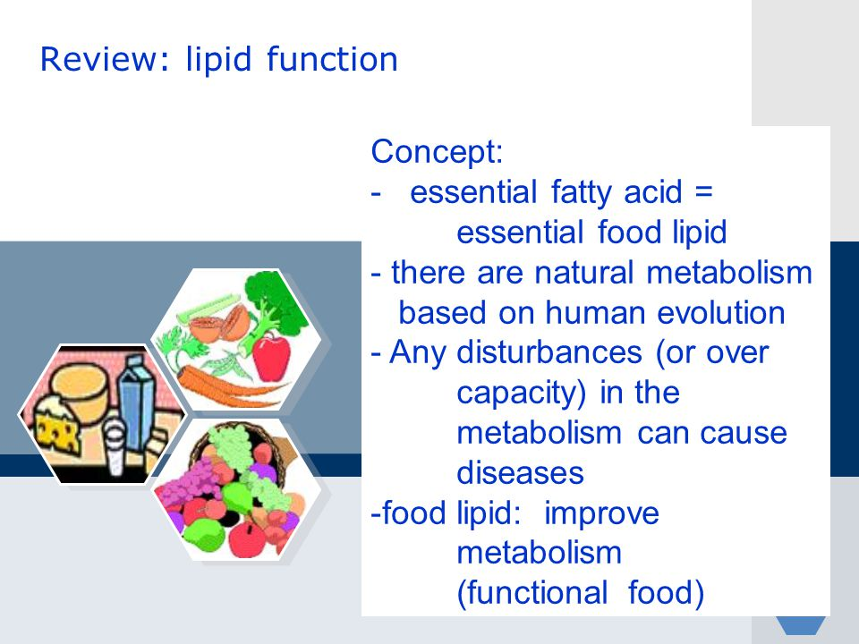 Review: lipid function Concept: - essential fatty acid = essential food lipid - there are natural metabolism based on human evolution - Any disturbanc