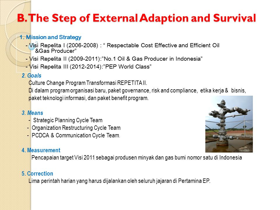 "B. The Step of External Adaption and Survival 1. Mission and Strategy - Visi Repelita I (2006-2008) : "" Respectable Cost Effective and Efficient Oil &"