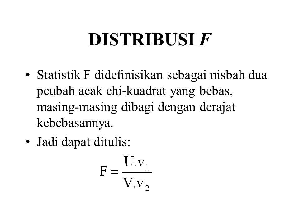 DISTRIBUSI F Statistik F didefinisikan sebagai nisbah dua peubah acak chi-kuadrat yang bebas, masing-masing dibagi dengan derajat kebebasannya. Jadi d