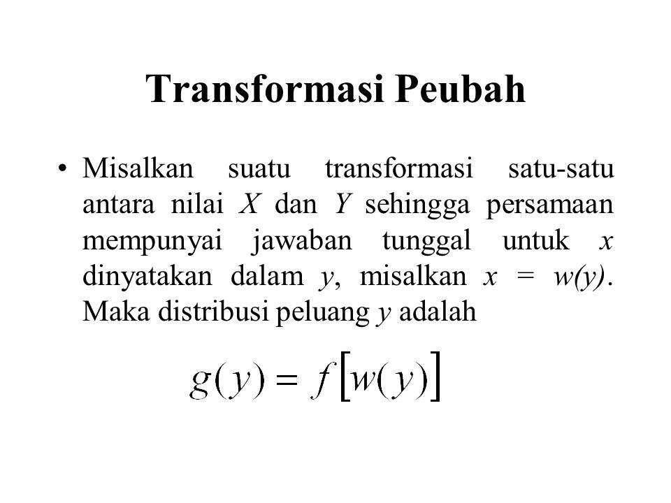Transformasi Peubah Misalkan suatu transformasi satu-satu antara nilai X dan Y sehingga persamaan mempunyai jawaban tunggal untuk x dinyatakan dalam y