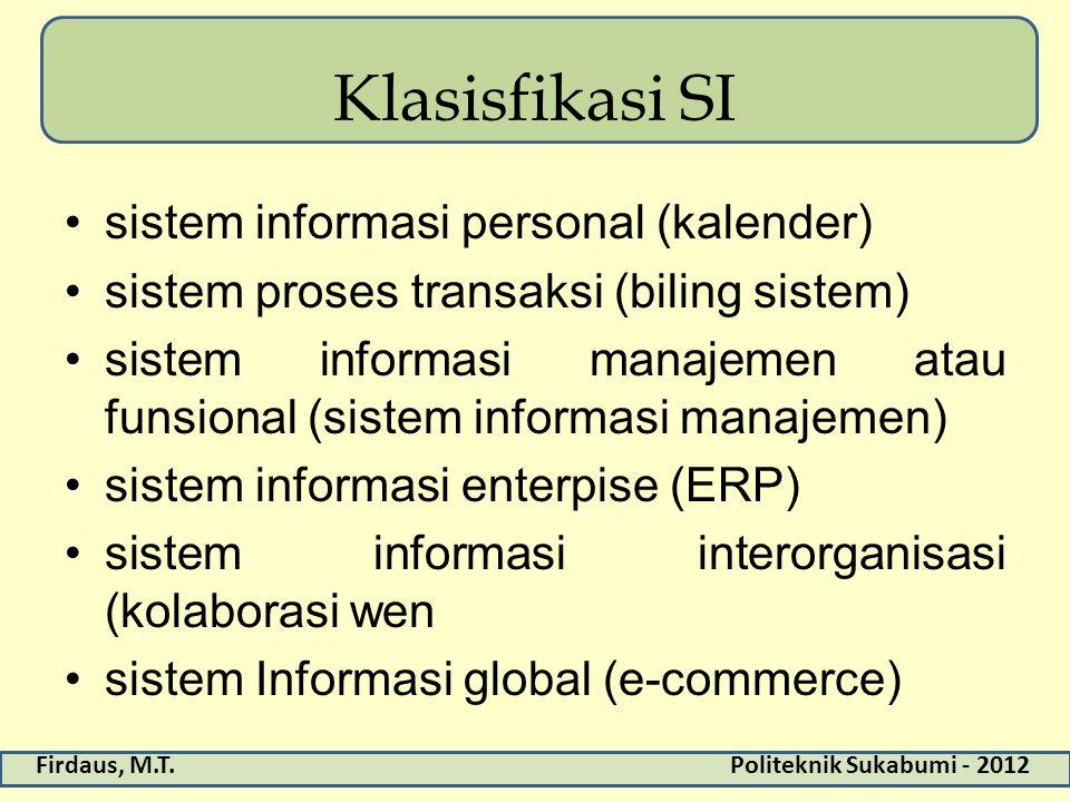 Firdaus, M.T.Politeknik Sukabumi - 2012 Klasisfikasi SI sistem informasi personal (kalender) sistem proses transaksi (biling sistem) sistem informasi