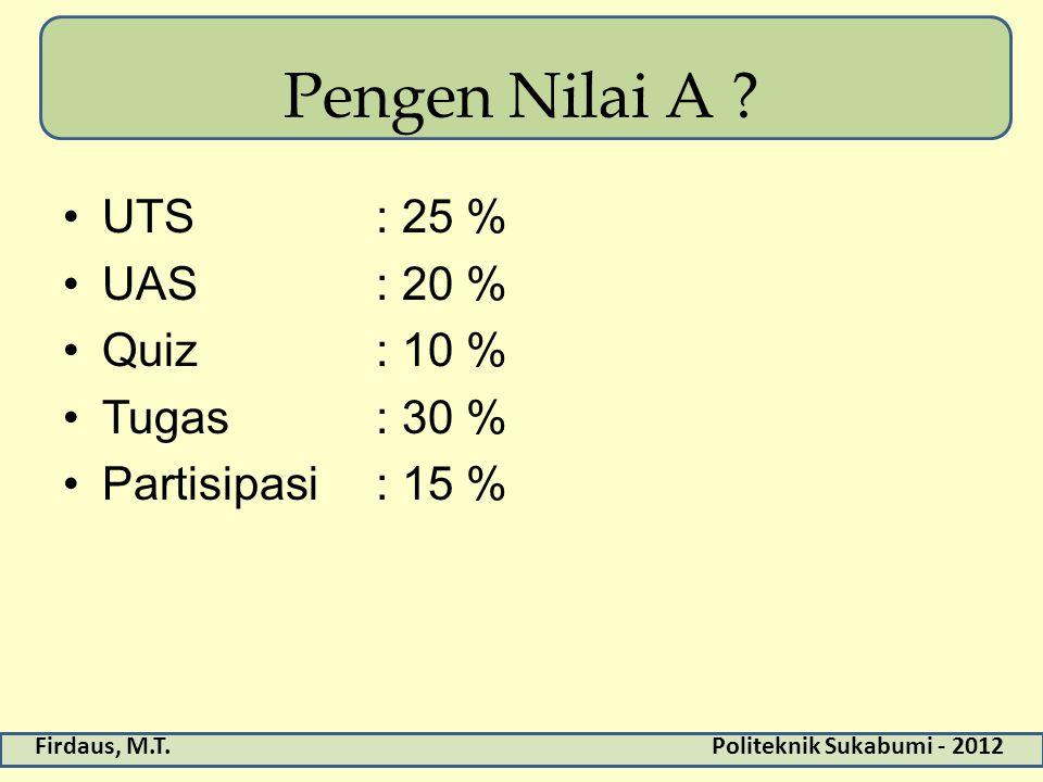 Firdaus, M.T.Politeknik Sukabumi - 2012 Pengen Nilai A ? UTS: 25 % UAS: 20 % Quiz: 10 % Tugas: 30 % Partisipasi: 15 %