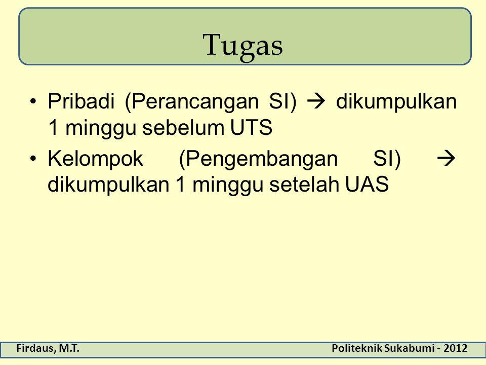 Firdaus, M.T.Politeknik Sukabumi - 2012 Tugas Pribadi (Perancangan SI)  dikumpulkan 1 minggu sebelum UTS Kelompok (Pengembangan SI)  dikumpulkan 1 m