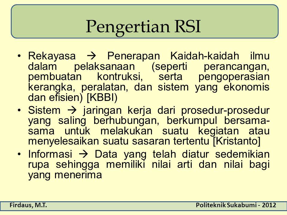 Firdaus, M.T.Politeknik Sukabumi - 2012 Pengertian RSI Rekayasa  Penerapan Kaidah-kaidah ilmu dalam pelaksanaan (seperti perancangan, pembuatan kontr