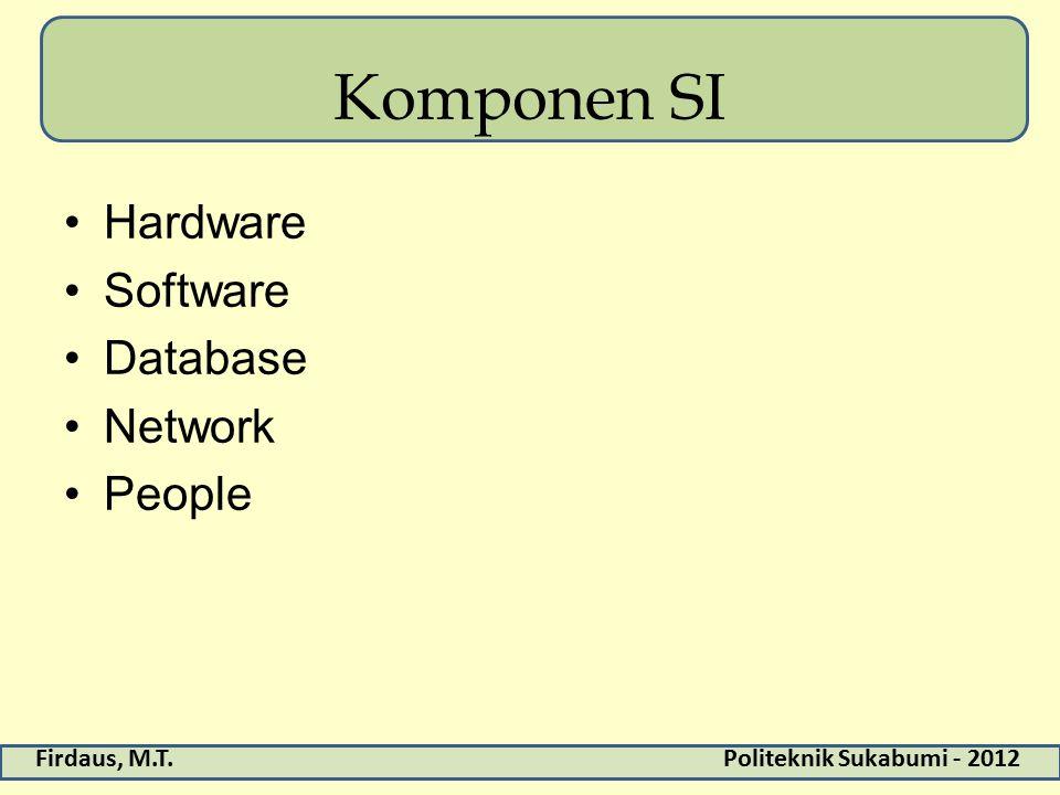 Firdaus, M.T.Politeknik Sukabumi - 2012 Komponen SI Hardware Software Database Network People