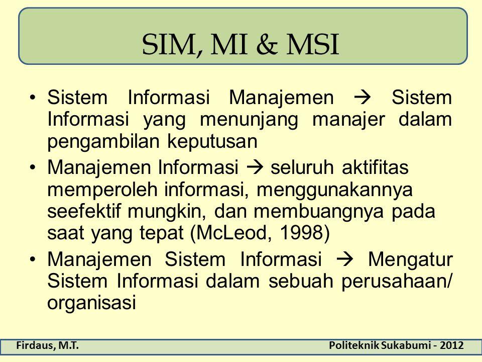 Firdaus, M.T.Politeknik Sukabumi - 2012 SIM, MI & MSI Sistem Informasi Manajemen  Sistem Informasi yang menunjang manajer dalam pengambilan keputusan