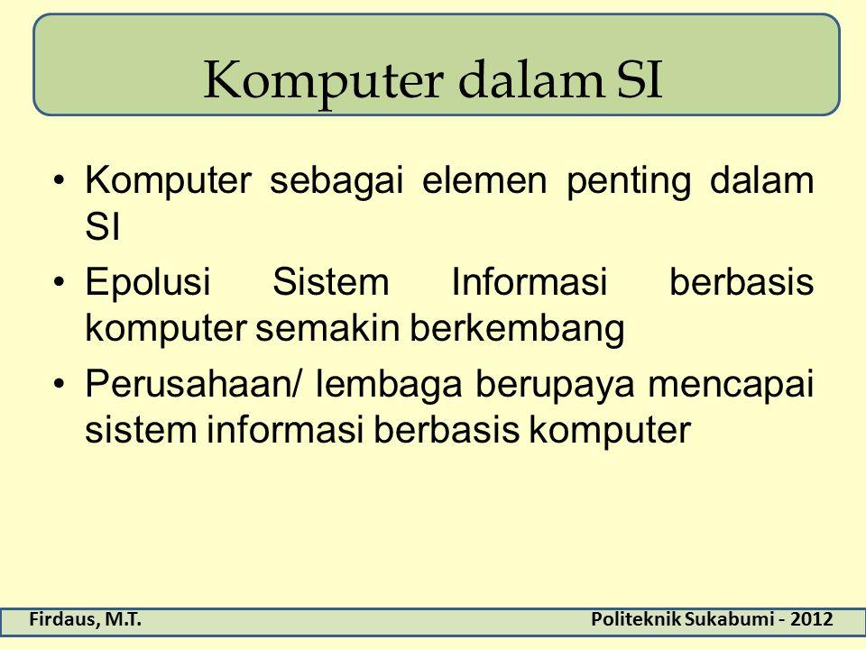 Firdaus, M.T.Politeknik Sukabumi - 2012 Komputer dalam SI Komputer sebagai elemen penting dalam SI Epolusi Sistem Informasi berbasis komputer semakin