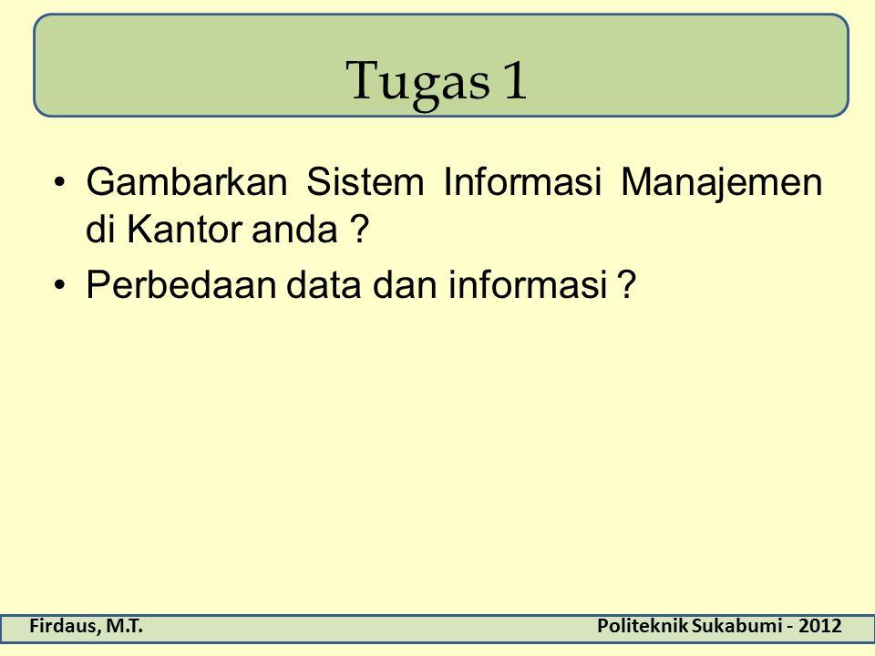 Firdaus, M.T.Politeknik Sukabumi - 2012 Tugas 1 Gambarkan Sistem Informasi Manajemen di Kantor anda ? Perbedaan data dan informasi ?