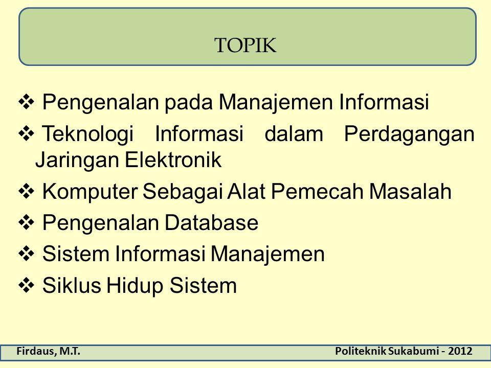 Firdaus, M.T.Politeknik Sukabumi - 2012 TOPIK  Pengenalan pada Manajemen Informasi  Teknologi Informasi dalam Perdagangan Jaringan Elektronik  Komp